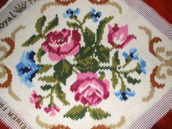 Prachtige Vintage Zweedse wol met de Hand geborduurd Tapestry
