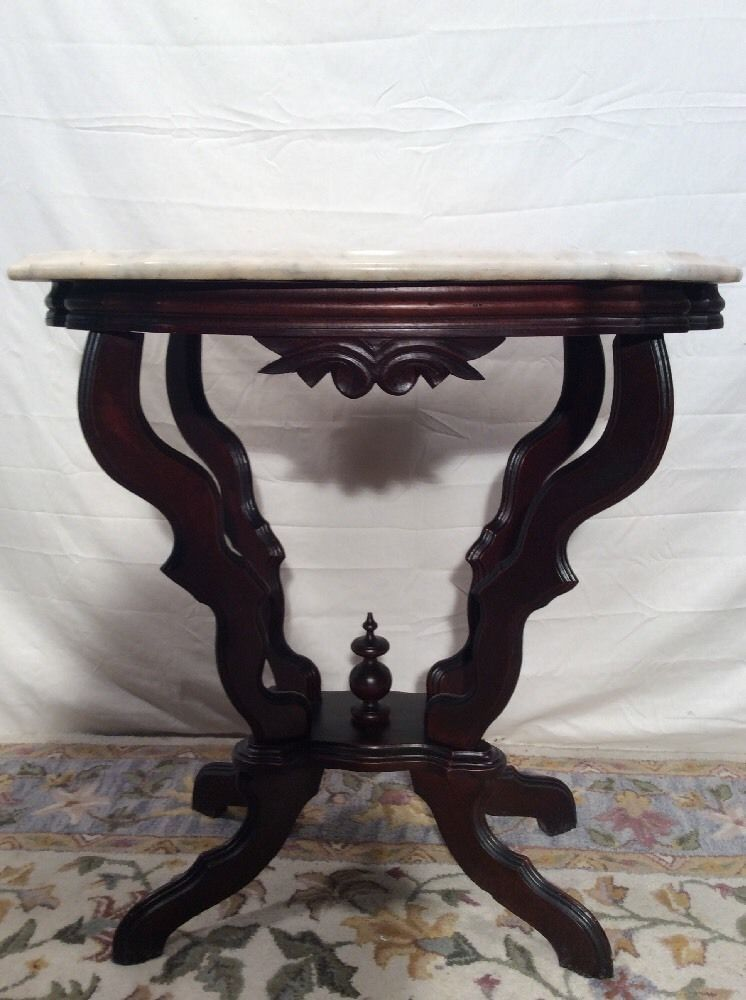 Petite Victorian Turtle Shaped Marble Top Walnut Parlor Lamp Table 1800u0027s # Victorian