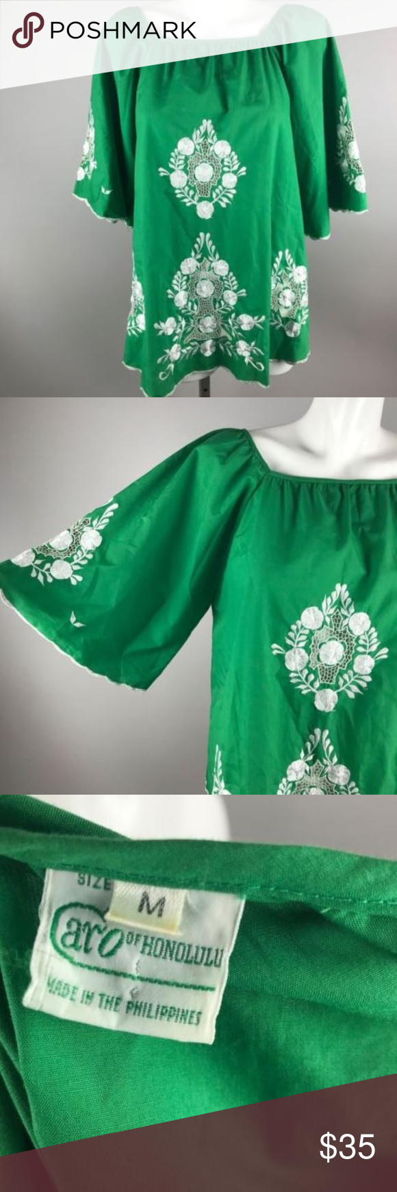 02787ede69e Vtg 70s Caro Of Honolulu Green Long Sleeve Top M Vtg 70s Caro Of Honolulu  Green