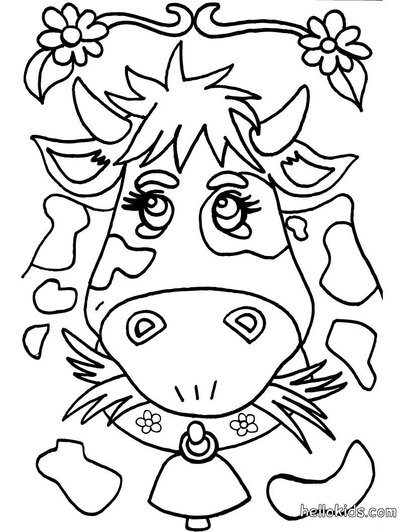 Go Green And Color Online This Cow Coloring Page Cute Amazing Farm Animals
