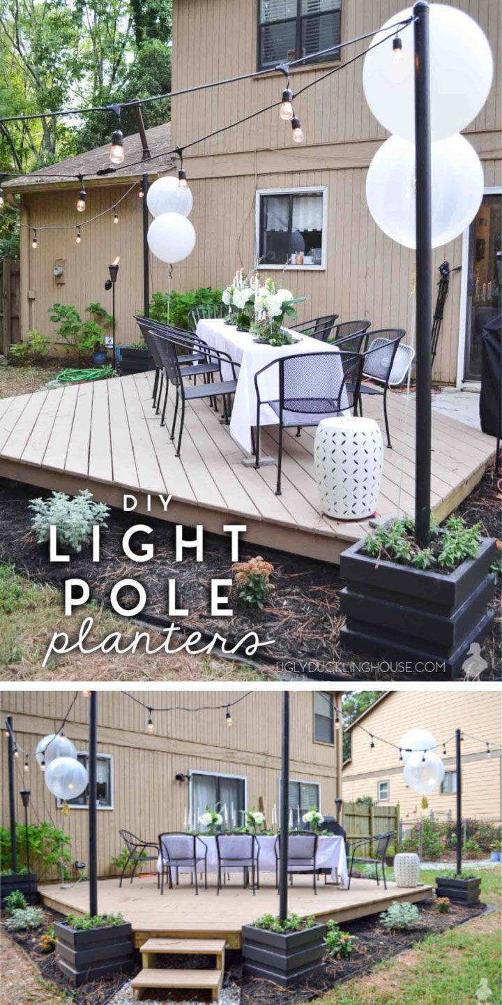 DIY Outdoor Light Pole Planters Around the Deck These DIY light pole planters were so easy to build! Just a little scrap lumber and wow!