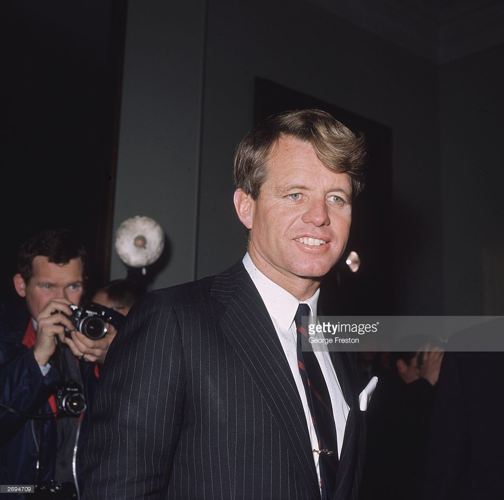 1967. Senator Robert Kennedy (1925 - 1968), candidate for the Presidential nomination of the Democratic Party and brother of the late President John F Kennedy, meets the press in London.