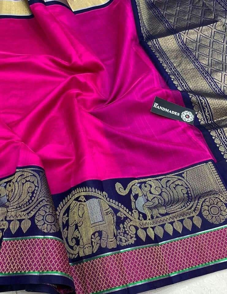 158fabd1abffd Latest Kuppadam Silk Sarees with Silver gold Jari Borders   Buttas    Contrast Rich Pallu   Contrast Plain Blouse   Rs. 7550 Order what s app  7995736811
