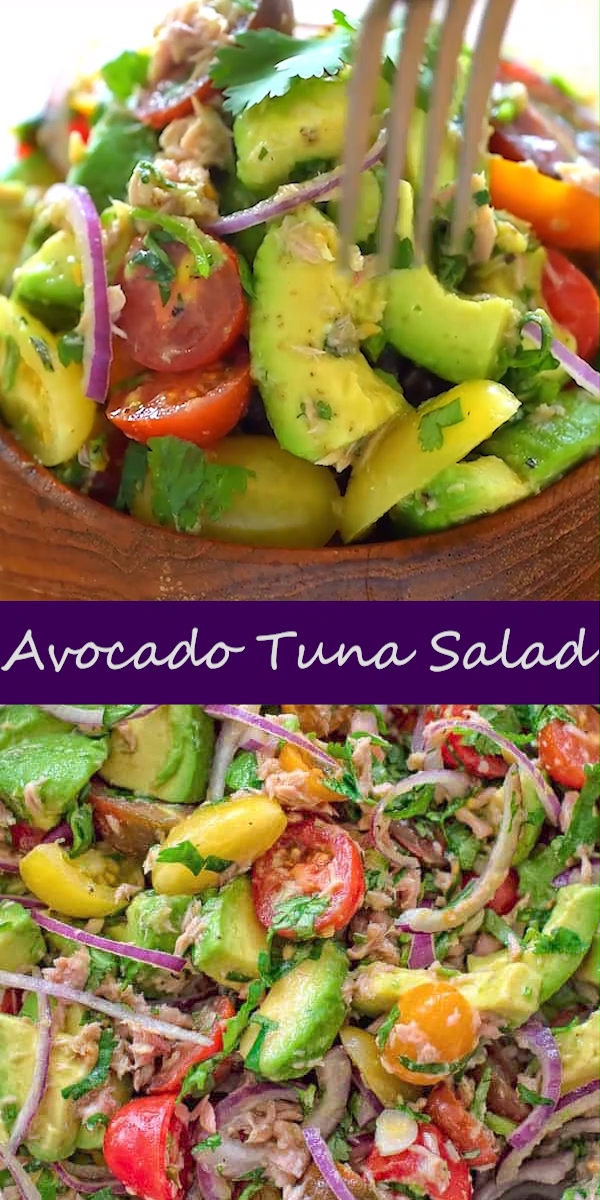 Tuna Salad Bright, fresh ingredients come together to create this delicious Avocado Tuna Salad. The crunchy onions, succulent tomatoes, creamy avocado, tuna, and generous bunch of cilantro make this salad a great lunch or snack. Not a fan of cilantro? No problem! Just substitute it with fresh parsley. FOLLOW Cooktoria for more