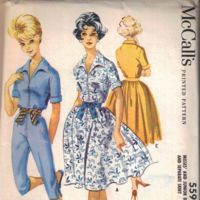 McCall's 5596; ©1960; Dress with four-gore gathered skirt, separate four-gore skirt and...