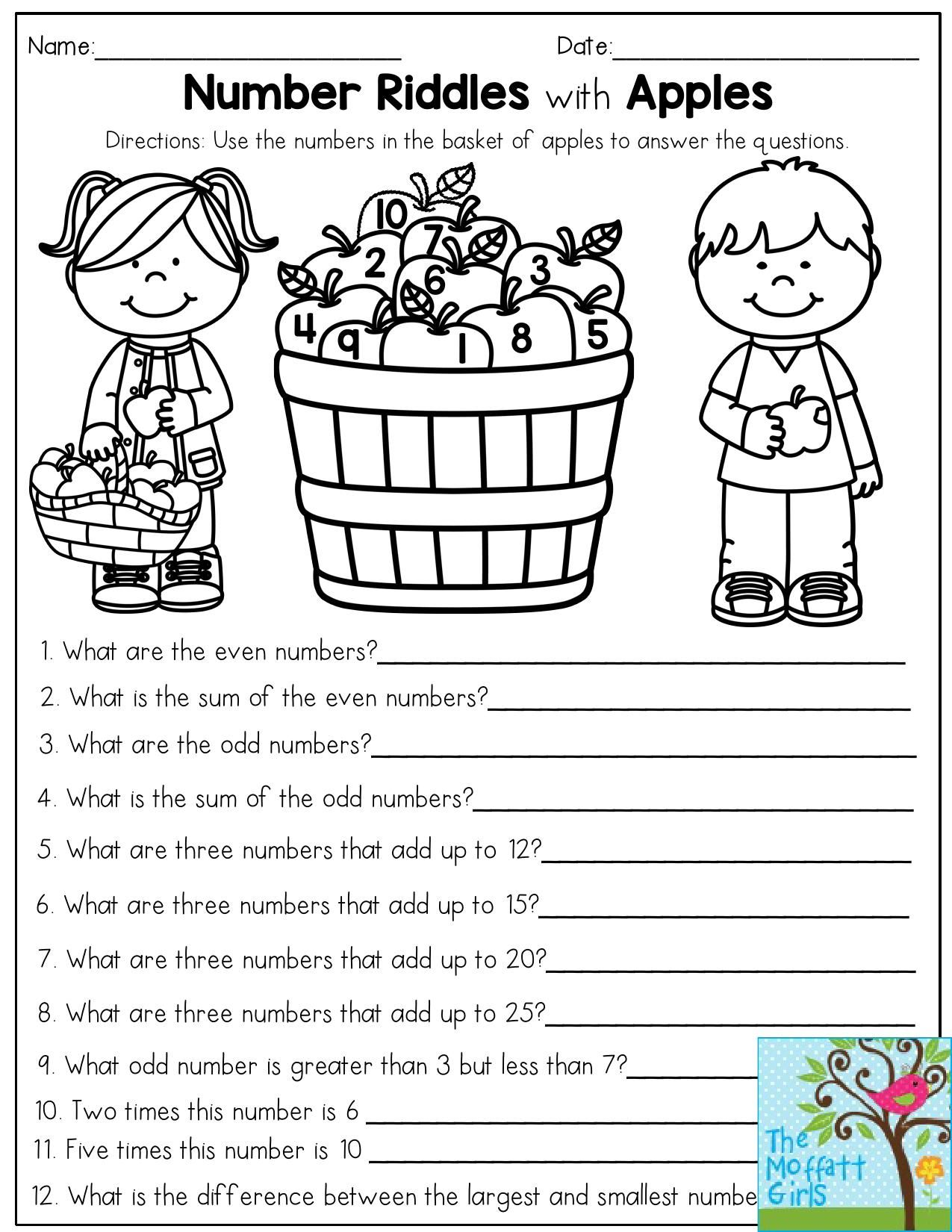 Number Riddles with Apples- Use the numbers in the basket