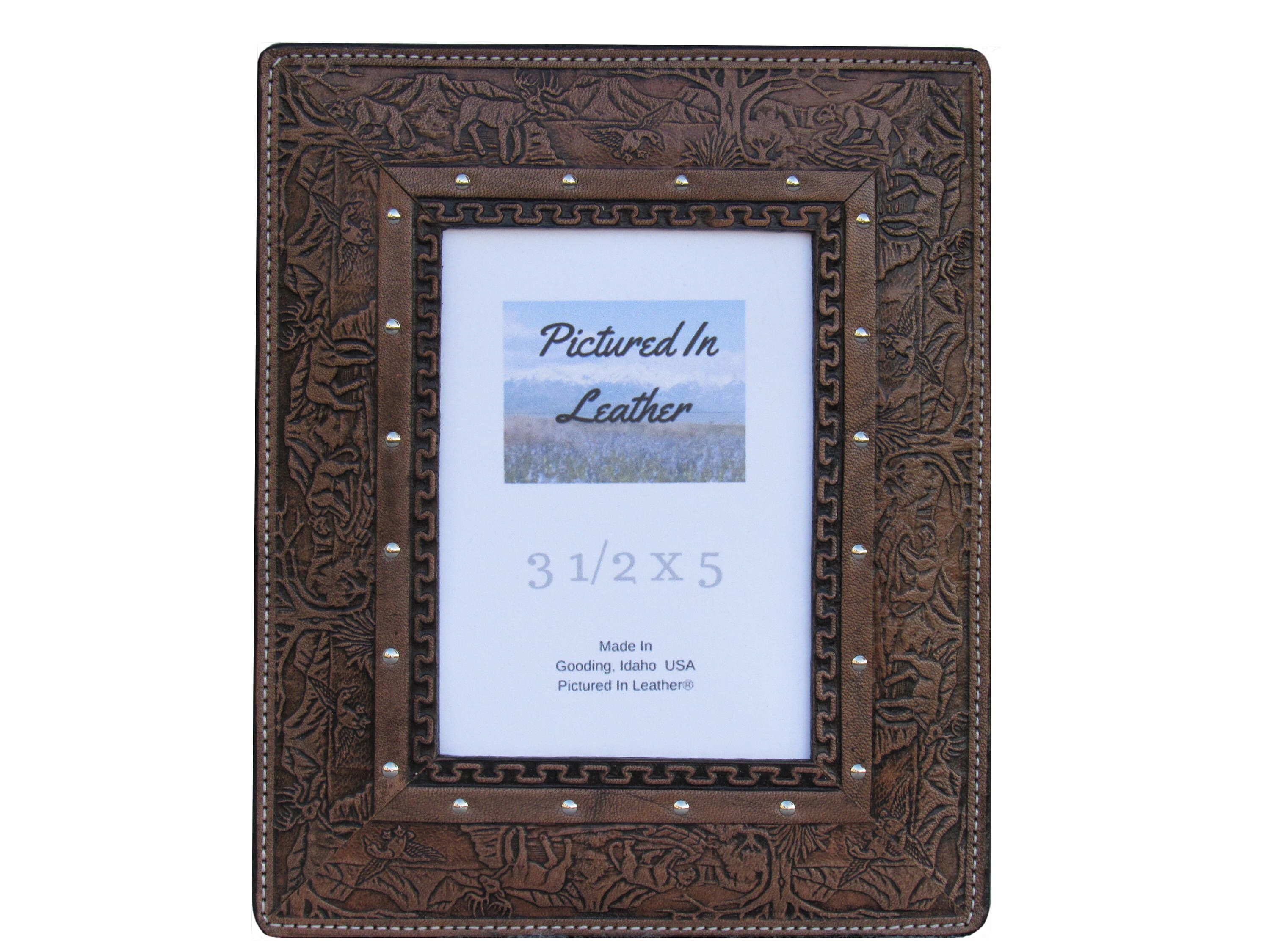 Christmas Gift For Men, Leather Photo Frame, 3 12X5, Wildlife
