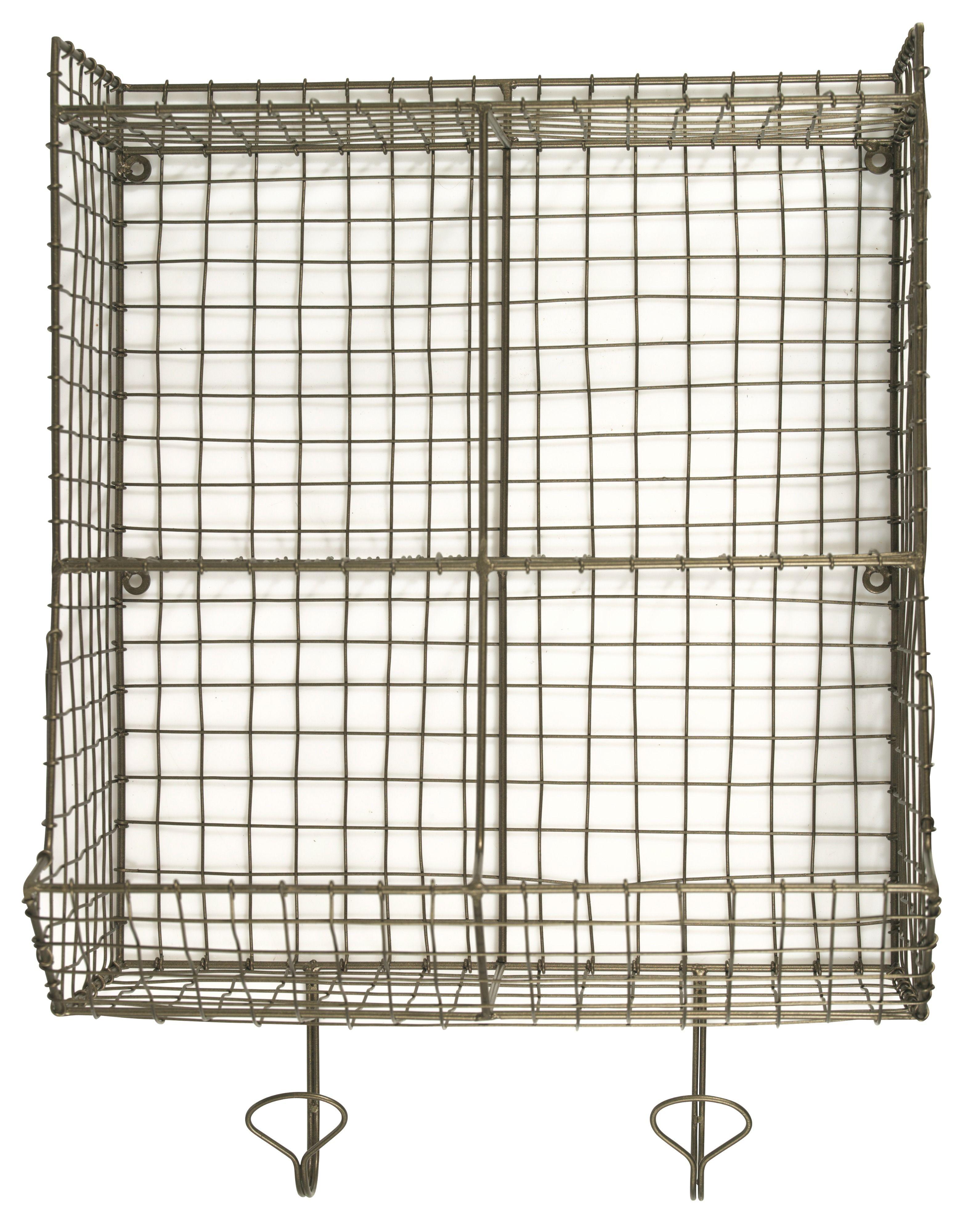 Madam Stoltz Bronze Wire Wall Storage Unit With Hooks: Brushed gold ...