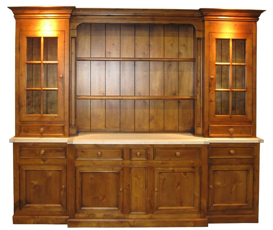 6 Section Sideboard & Hutch w 7 Drawers & 3 Cabinets