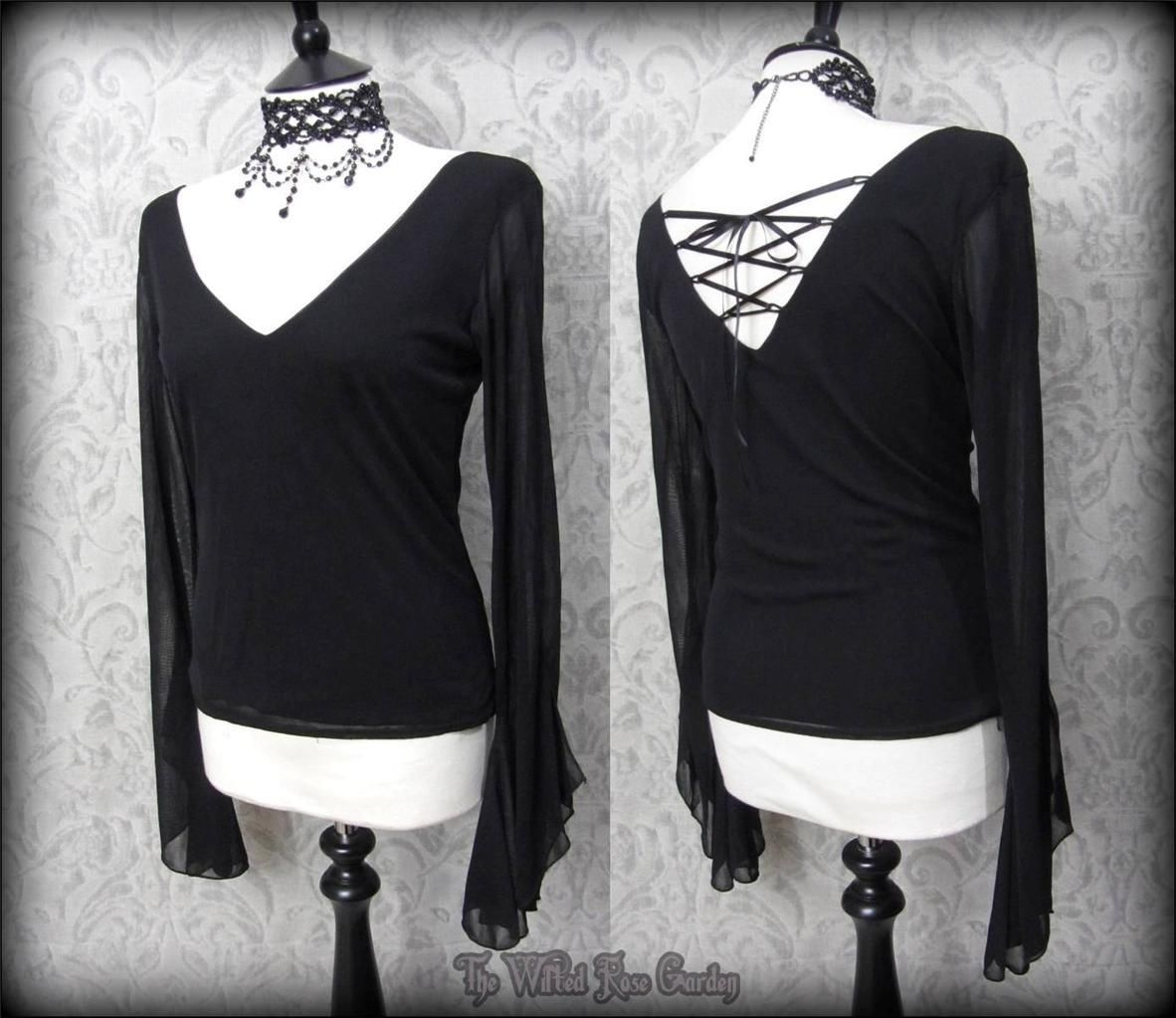 Gothic romantic black sheer lace up angel wing top vampire maiden