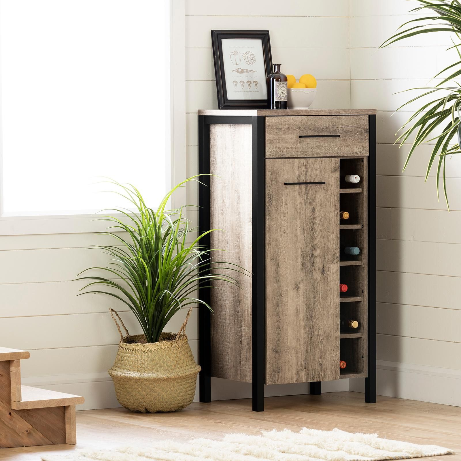 South Shore Munich Industrial Design 2-Drawer Mobile File Cabinet Weathered Oak