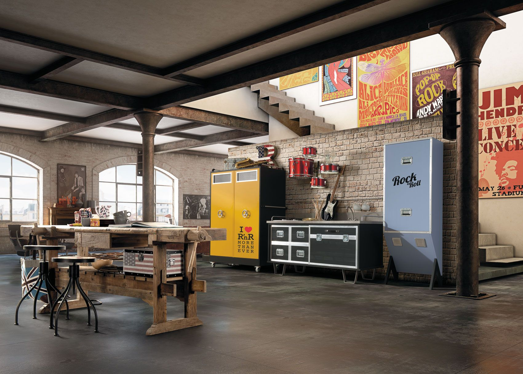 arredamento country, vintage, industrial, loft, urban, shabby chic ... - Soggiorno Urban Chic