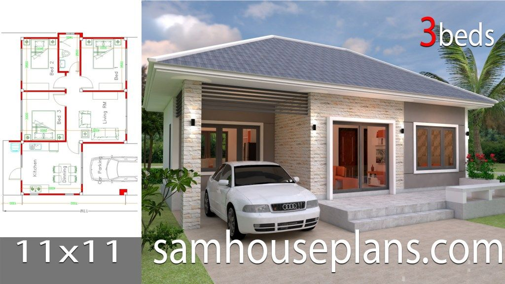 House Plans 7 5x11 With 2 Bedrooms Full Plans House Plans Sam Simple House Design Simple House Plans House Plans