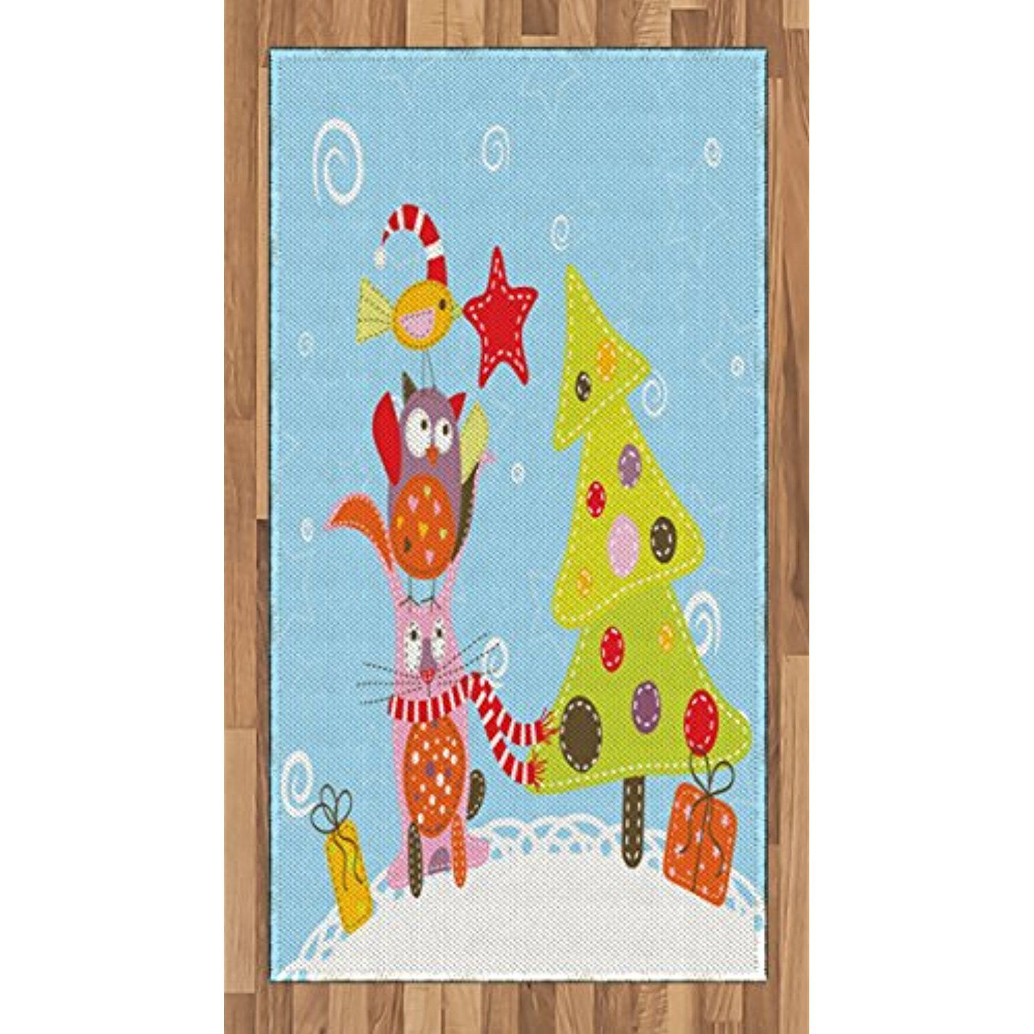 Christmas Area Rug by Ambesonne, Funny Cartoon Stylized Cat Owl and ...