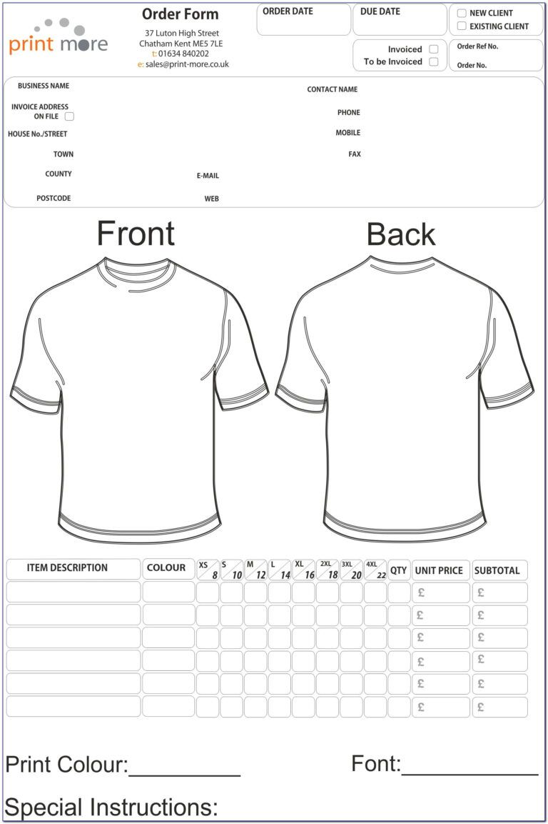 Free Printable T Shirt Order Form Templates Form Resume Within Printable Blank Tshirt Template Order Form Template Free Order Form Template Shirt Template
