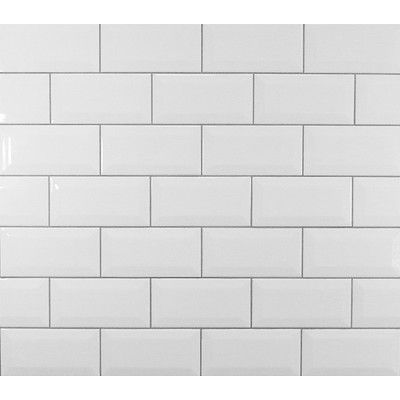 Mulia Tile Classic Beveled Ceramic Subway Tile in White | Brookside ...