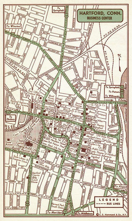 Hartford Print Hartford Street Map Hartford Vintage Map Hartford