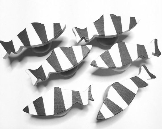 cabinet knobs black white striped fish shape drawer by judestuff