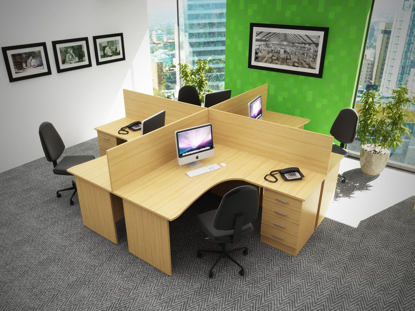 desk set up open space with dividers