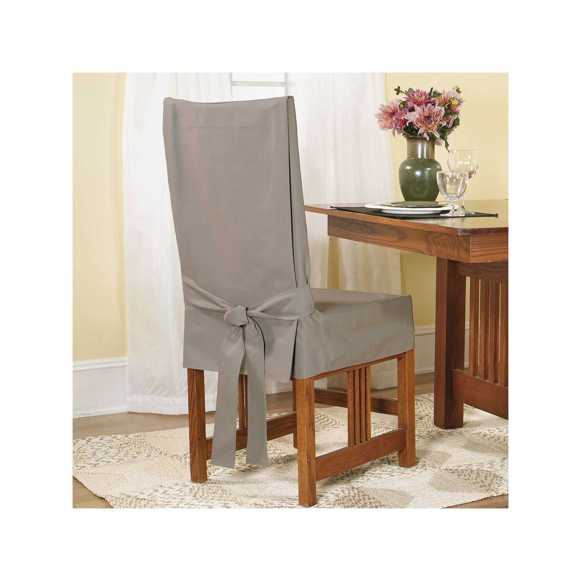 Sure Fit Soft Suede Shorty Dining Room Chair Slipcover Custom Sure Fit Short Dining Chair Slipcover Green  Dining Chair Design Ideas