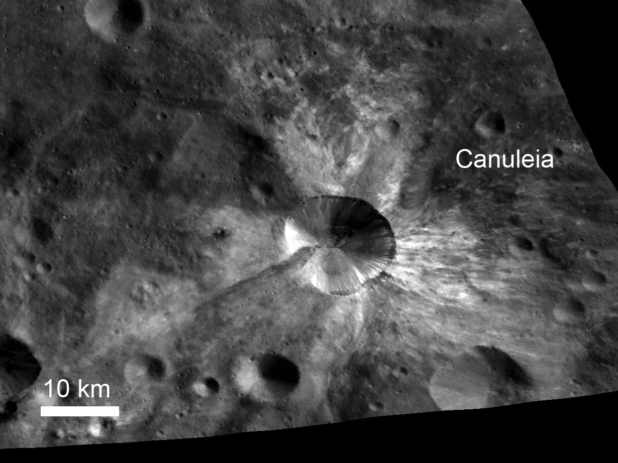 In this image from NASA's Dawn spacecraft, bright material extends out from the crater Canuleia on Vesta. The bright material appears to have been thrown out of the crater during the impact that created it. Canuleia crater is located outside the rim of the Rheasilvia basin in the southern hemisphere, inside the quadrangle named for Urbinia crater. It is about 6 miles (10 kilometers) in diameter. The bright ejected material extends 12 to 19 miles (20 to 30 kilometers) beyond the crater's rim.
