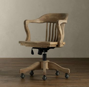 Vintage Wood Office Chair Traditional Restoration Hardware