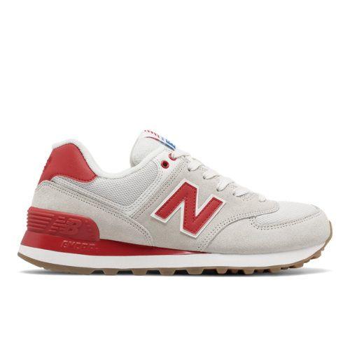 574 Retro Sport Women's 574 Shoes - Off White/Red (WL574RSA)