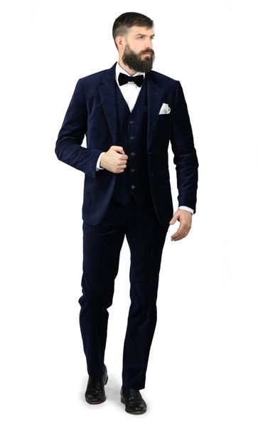 Three Piece Navy Velvet Wedding Suit