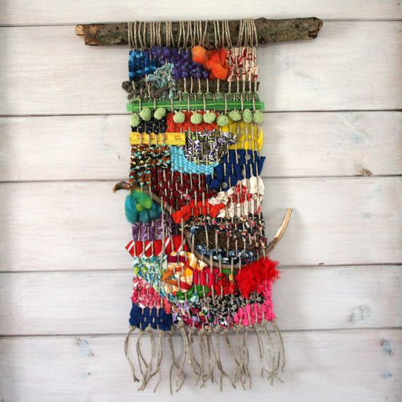Woven Wall Hangings colorful woven wall hanging with found objects, handmade wall