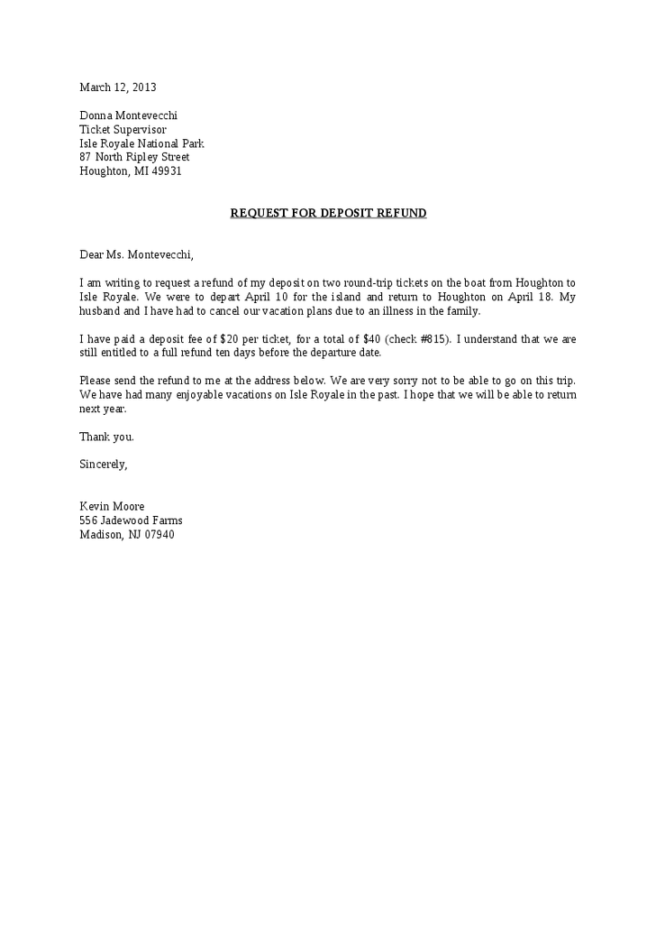 Request For Deposit Refund Letter Hashdoc Landlord Tenant