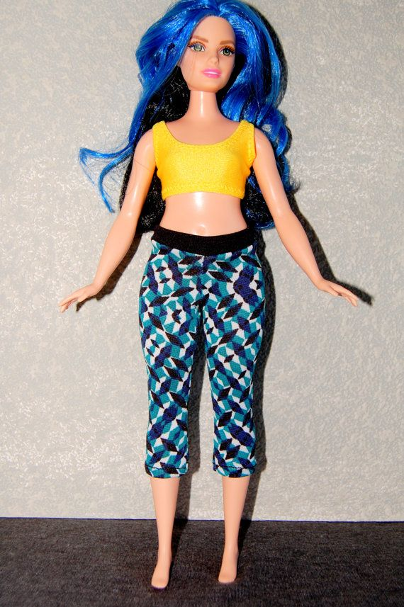Curvy Barbie exercise yoga pants A4B154 fashionista fashion doll ...