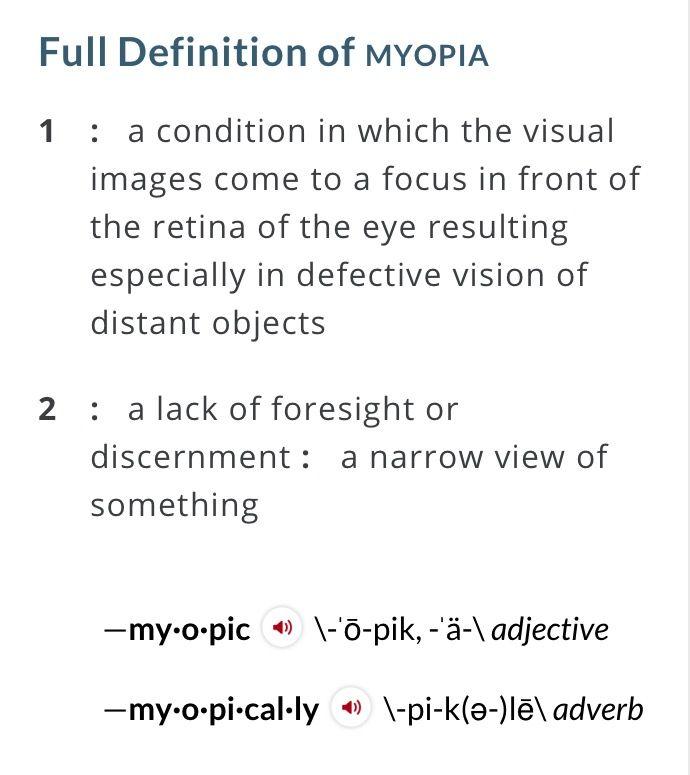 myopia definition of myopia)