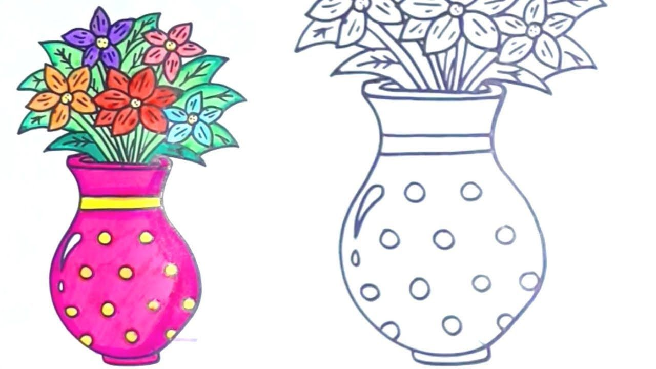 How To Draw Flowers In A Vase Drawing For Kids And Coloring Flowers Drawing Vase Kids Flower Drawing Drawing For Kids Drawings