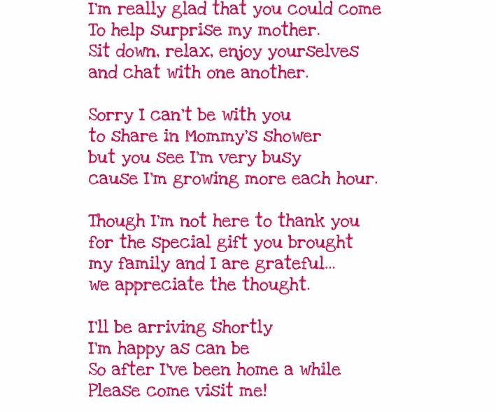 Sweet Poem For Your Baby Shower Guests Ramos Babies Pinterest