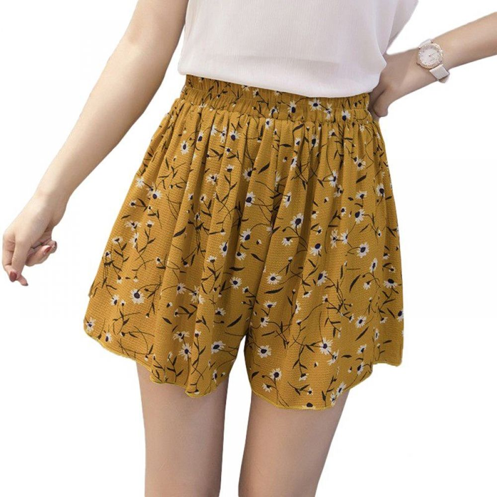 Women's Floral Patterned Plus Size Chiffon Shorts
