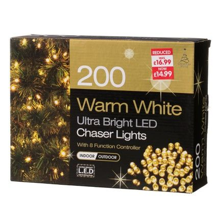 200 ultra bright led christmas chaser lights available at bm stores in warm white cool white multicolour and blue which colour would go best on your