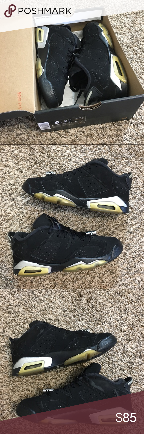 check out 9091f 93b7f Air Jordan Retro 6 Low Chrome Metallic Sneaker Air Jordan Retro 6 Low  Chrome Silver Black Metallic Basketball Sneaker Size 6Y Good condition has  some scuffs ...
