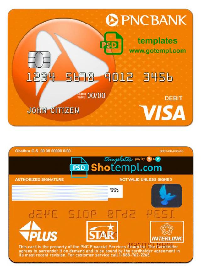 Usa Pnc Bank Visa Debit Card Template In Psd Format Fully Editable Visa Debit Card Pnc Debit Card