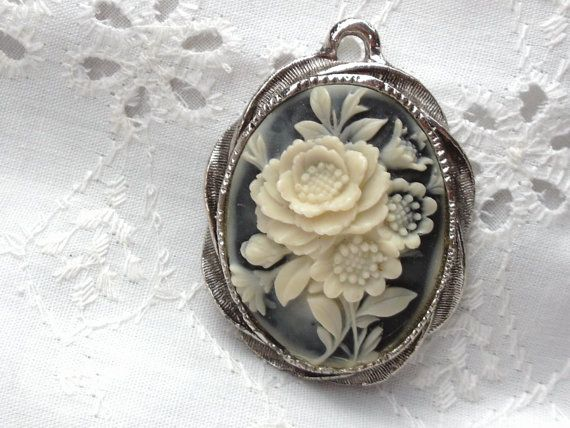 Cameo Mirror Pendant Jewelry for Her by SweetAngelVintage on Etsy