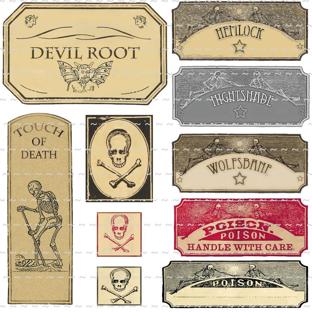 vintage poison witchcraft potion bottle labels halloween props devil
