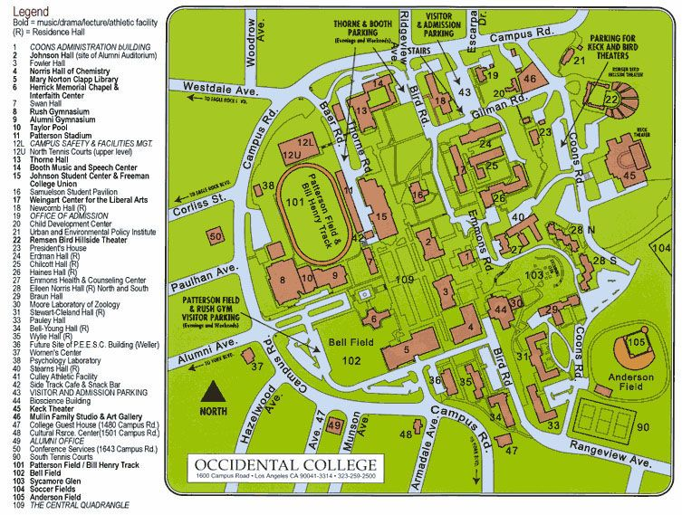 occidental college campus map Occidental Campus Map Campus Map Occidental Norris occidental college campus map