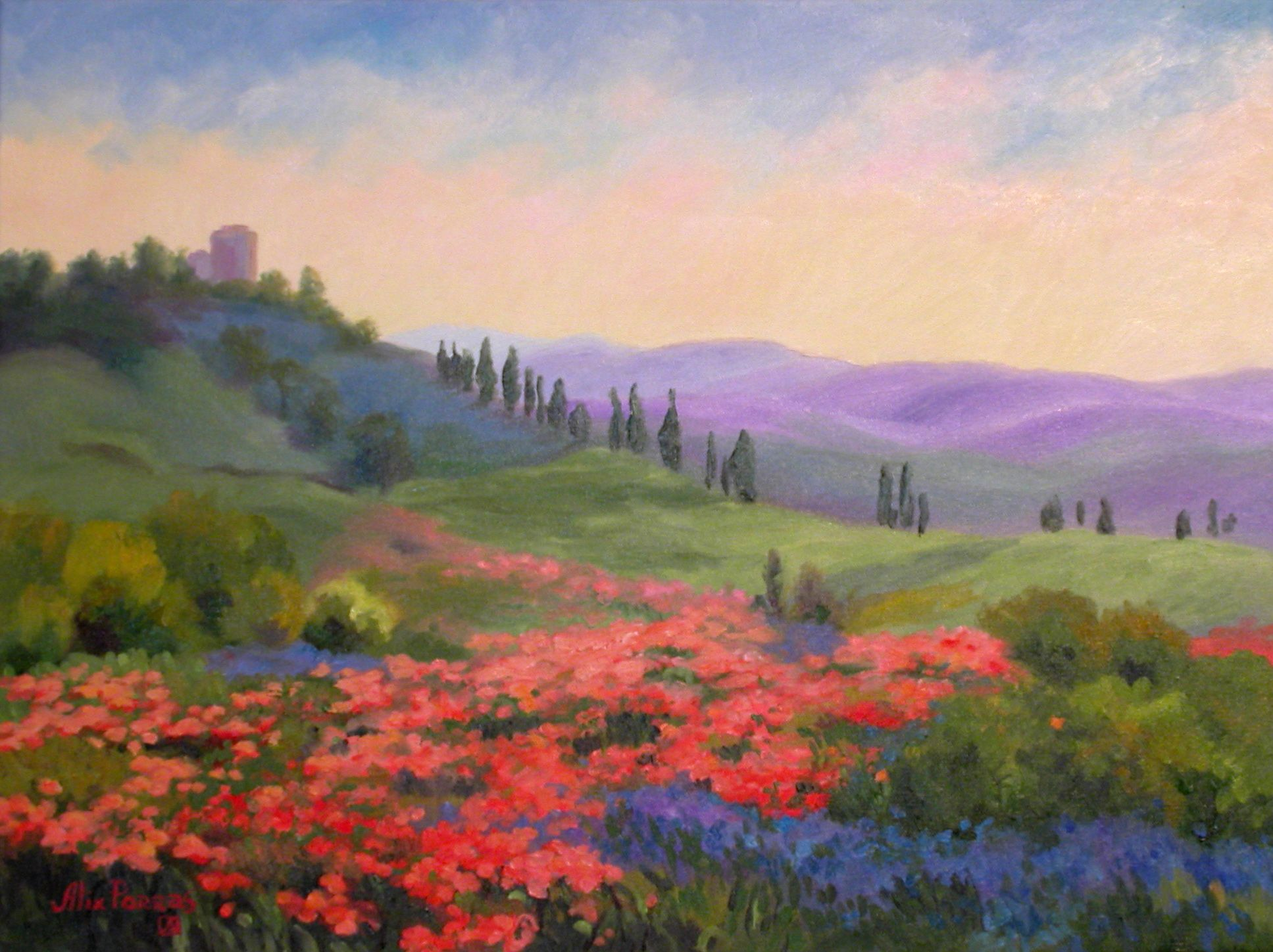 polymer clay landscapes | Tuscan Countryside Landscape | polymer ... for Countryside Landscape Paintings  545xkb