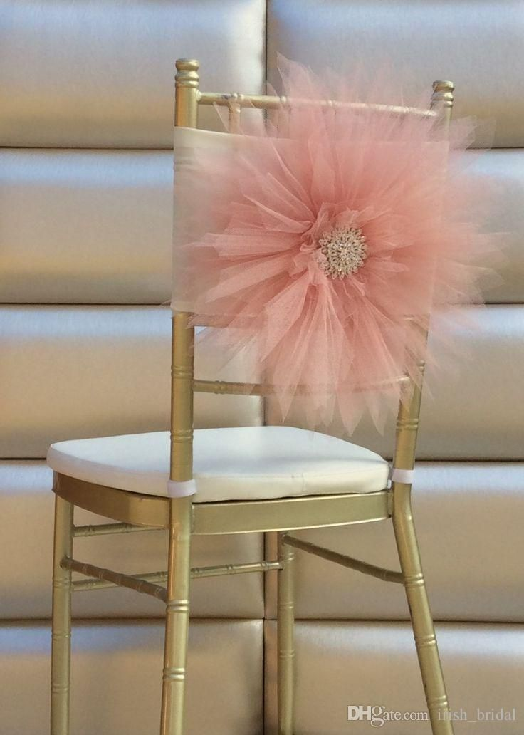 2015 Big Flowers Crystal Beads Romantic Hand Made Tulle Ruffles Chair Sash Chair Covers Wedding D Chair Covers Wedding Wedding Chair Decorations Wedding Chairs