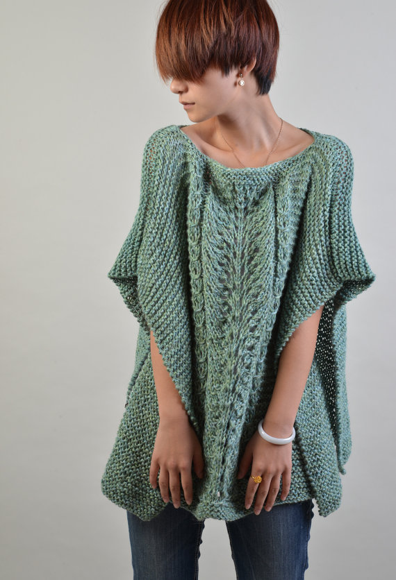hand knitted Poncho/ capelet in Fall Green - ready to ship | Ponchos ...