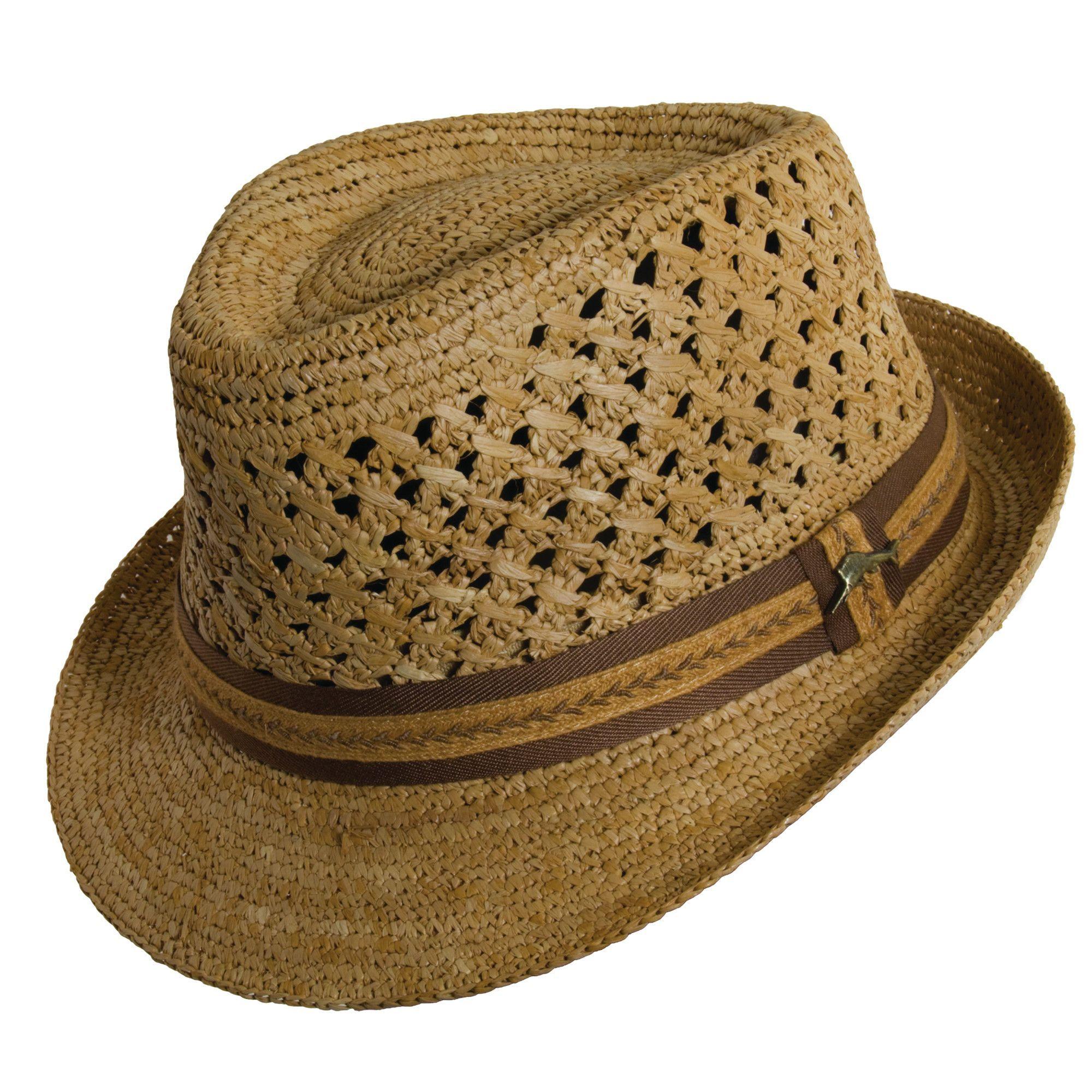 Tommy Bahama Crocheted Raffia Fedora Hat  65c0bb80df0