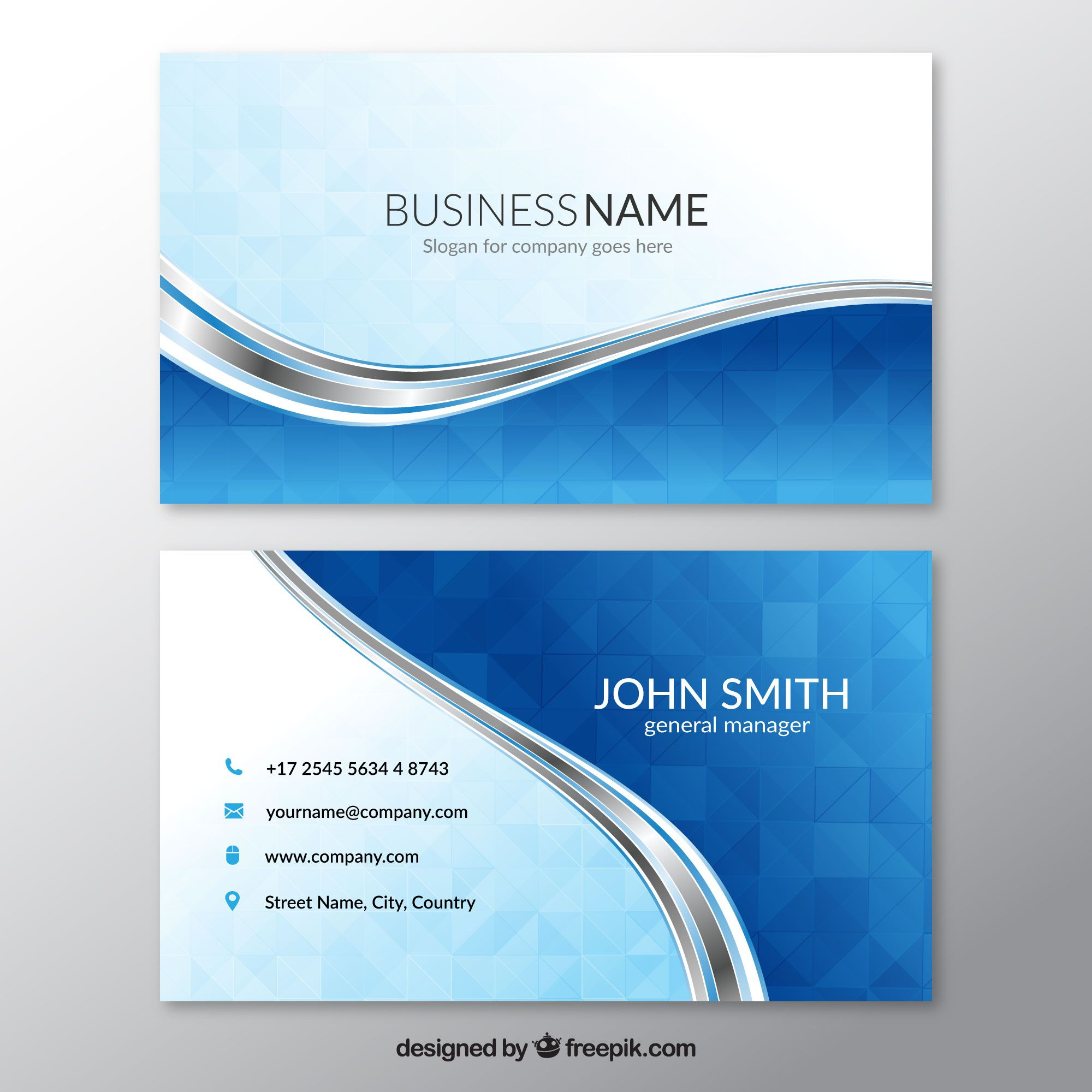 Pin by ahs code on cartes de visita pinterest brand design blue business card with wavy lines free vector reheart Image collections