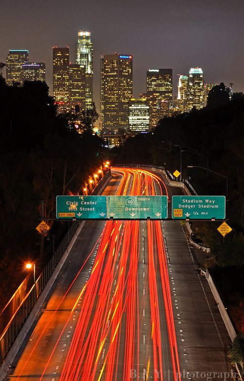 Downtown Los Angeles and the 110 freeway from Elysian park