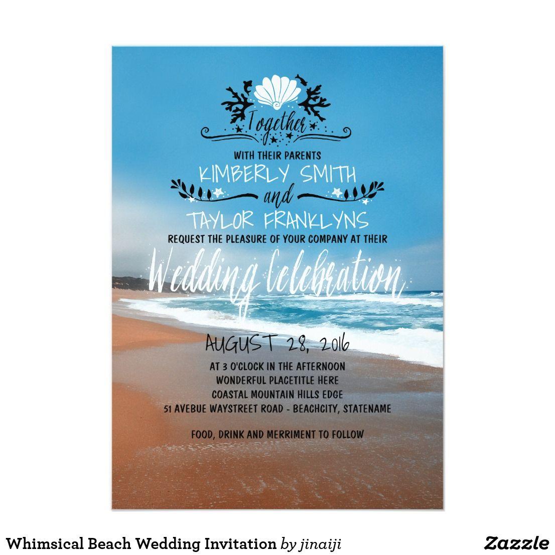 Whimsical Beach Wedding Invitation Beach Wedding Invitations