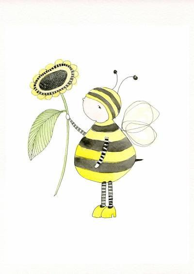 Childrens Decor Nursery Decor Kids Art Bumble Bee By Hiccupart