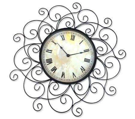 Wrought Iron Design Decorative Wall Clock Clock Wrought Iron Decor Shabby Chic Clock